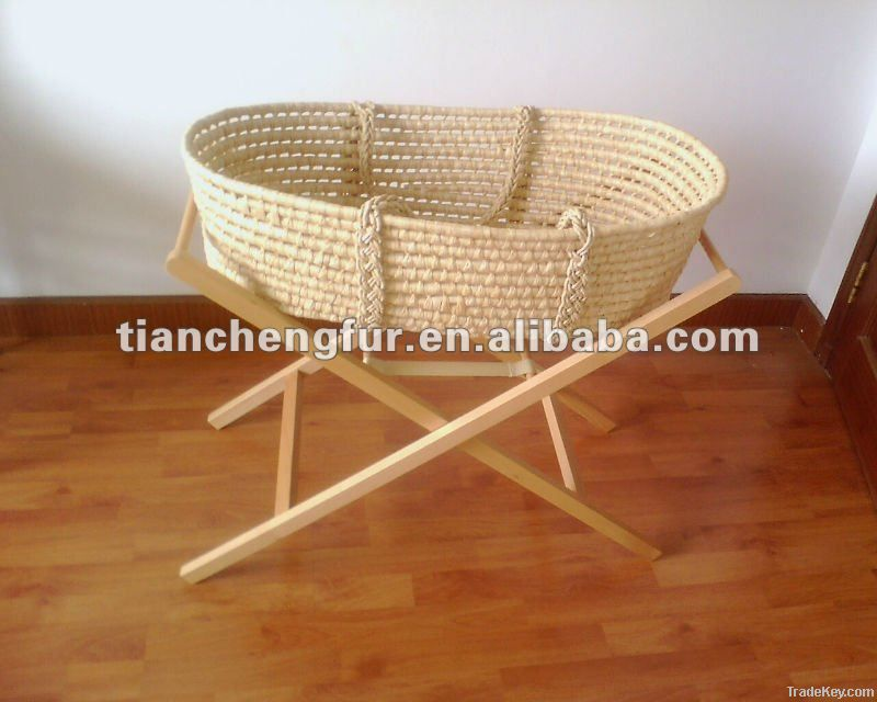 Solid Wood Rocking Basket Stand
