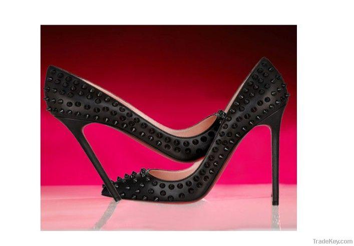 2013 new design  rivet sexyhigh heel shoe red bottom 11cm heels shoes