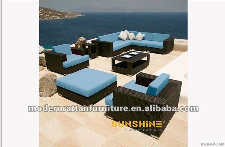 outdoor furniture-rattan garden sectiona sofa