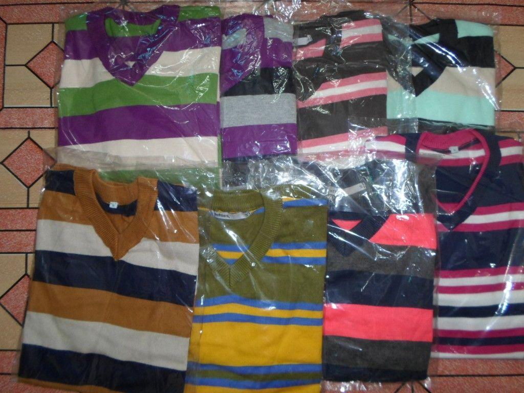 Mans Stripe V/Neck Long Sleeve Sweater