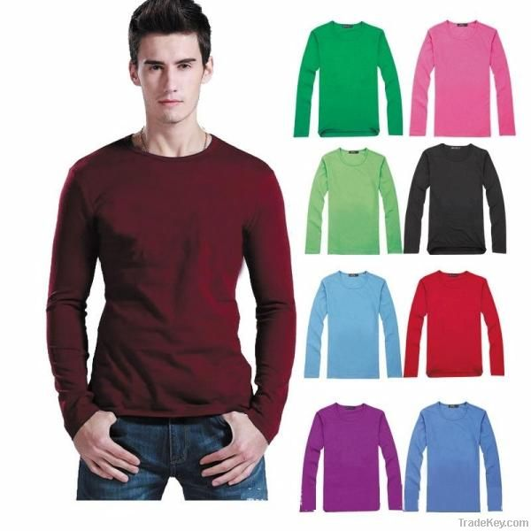 (Free shipping) Long sleeves soft cotton man T shirt in a low price