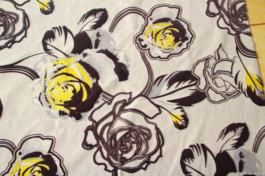 nice design printing flock on flock fabric sofa