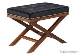 Low Price Leather Oak Ottoman