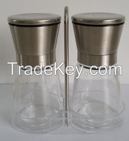Manual glass pepper and salt mill grinder set