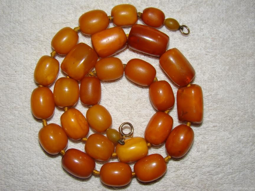Old amber, Coral, Ivory necklaces and beads