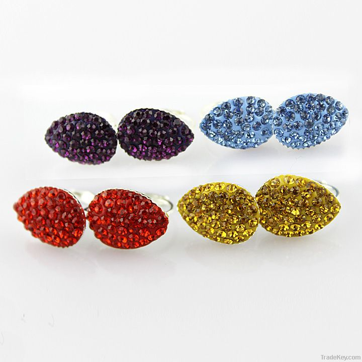 Mix Color Rhinestones CZ Disco Ball Metal Fashion Shamballa Earrings