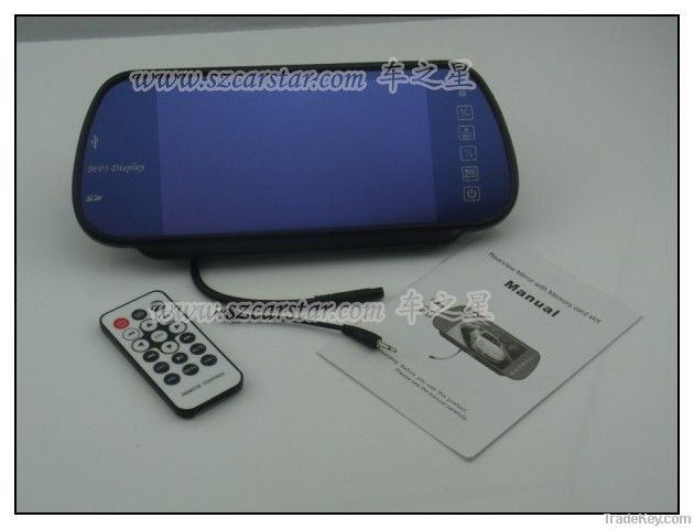 7 Inch Car Rearview Mirror TFT LCD Monitor with MP5 USB SD