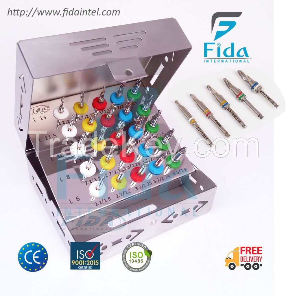 25 PCS Dental Conical Drill Kit with Stopper Dental Implant Surgical Drill Kit
