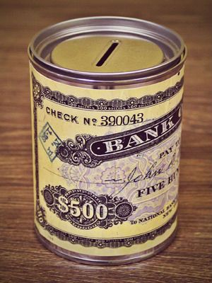 Handmade Vintage Money boxes - Exclusive Design - Retro Style - 500ml / 17oz