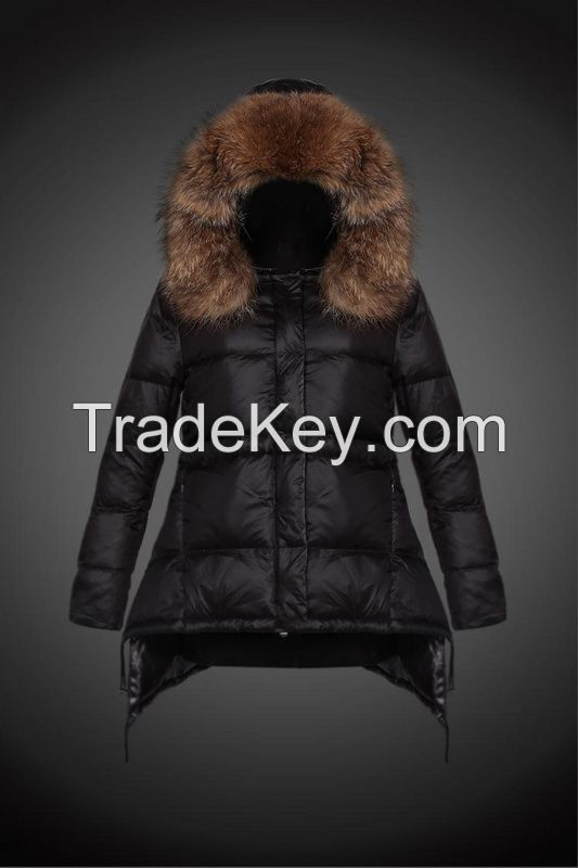 Parajumpers 2014 Winter Women White Duck Down Parkas Raccoon Fur Hooded Button Warm Thick Long- Sleeve Zipper Ladies ' Casual Long Coats 921