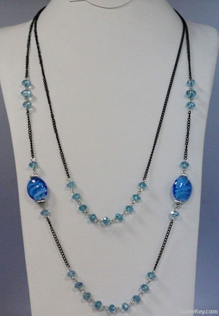 Alloy Plated Long Necklace with Crystal, Glaze beads Necklace Jewelry