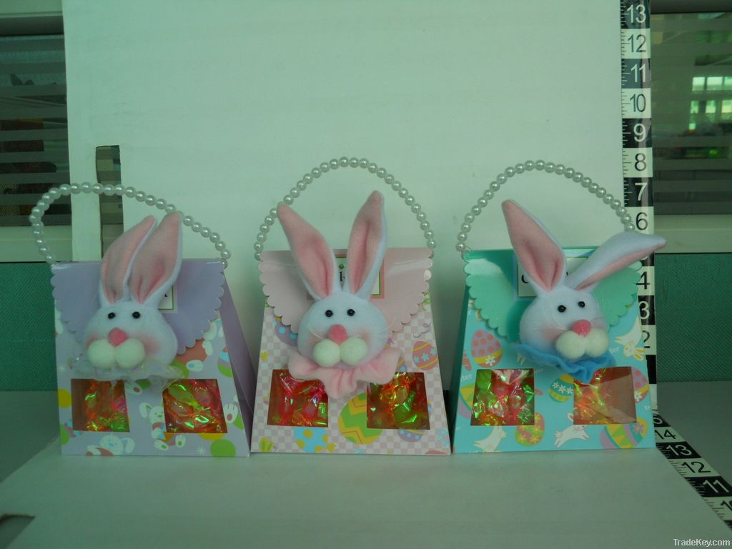 Easter hard candy in window box plush deco and pearl handle