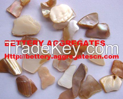 Polished mother of pearl aggregates