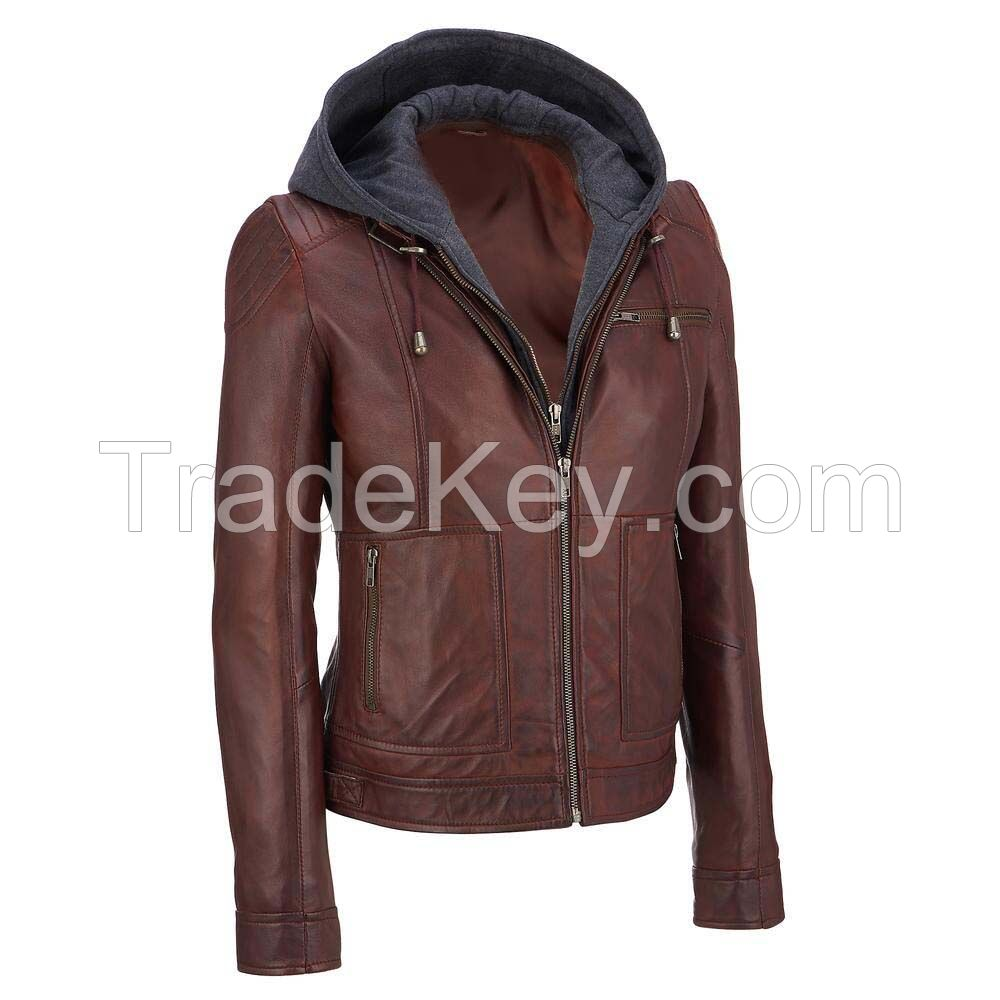 black faux leather hooded fur hooded jackets for women, fur hood women