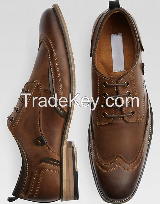 2018 Fashion style  men's dress Shoes, mens classic wingtip shoes for men formal wear, genuine leather