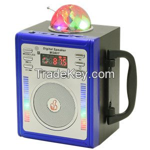 Portable Wooden Box Radio with USB/Micro SD/Remote Control/LED disco light