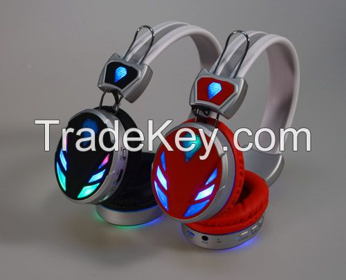 New Wireless Bluetooth Headphone with LED disco light, FM Radio and Micro SD card slot
