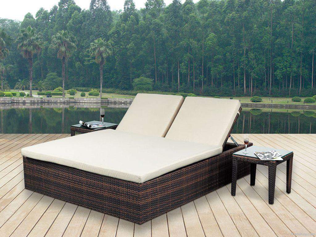 Double Rattan/Wicker Sunburst Bed