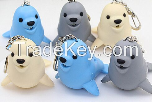 YL-k179 Dolphin shape LED keychain with sound