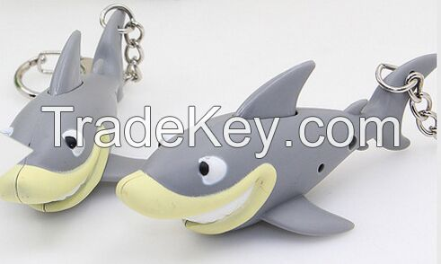 YL-k179 Dolphin shape LED keychain with sound