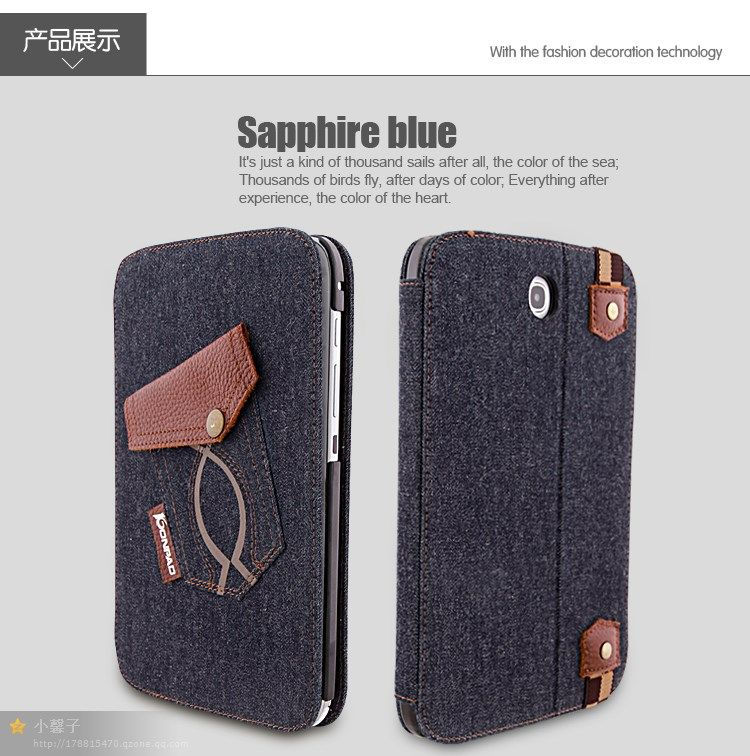 2013 fashion case for ipad 2/3/4 with fine jeans and Genius leather