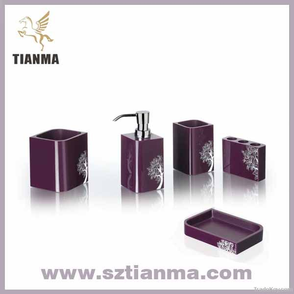 5 pcs acrylic purple bath sets with flower printed