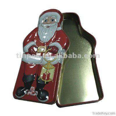 Christmas sock tin can, christmas promotional tin case, metal xmas box
