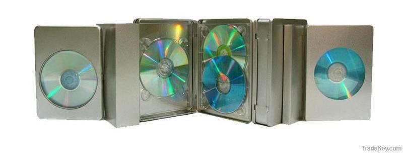 large DVD tin case, metal dvd tin collection, dvd metal storage