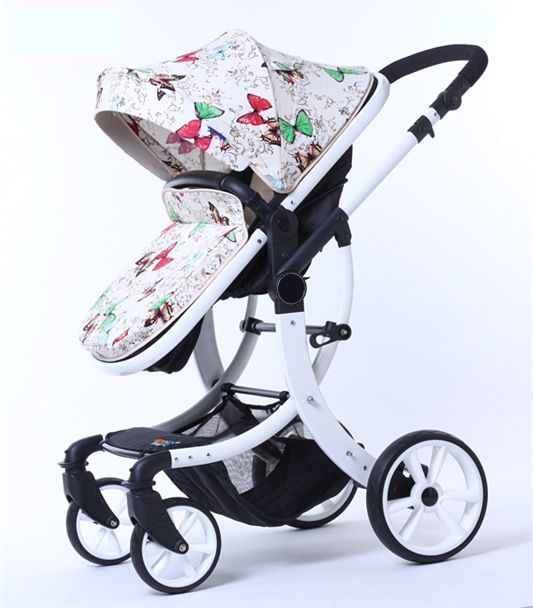 CoBaby High Landscape Baby Stroller, 2 in 1 Foldable Infant Pram, Chair/Bassinet Switchable, Design Patented