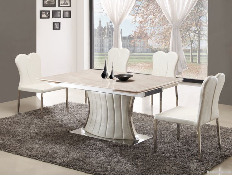 Stainless Steel Marble Top Extendable Dining Table By Teams - Marble top extendable dining table