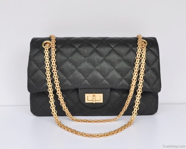 BLACK LAMBSKIN CLASSIC FLAP BAG 2.55 GOLD HW
