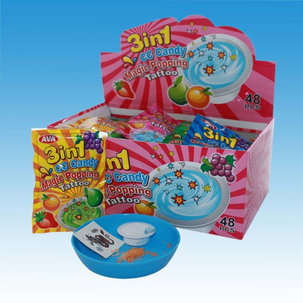 3 in 1 (5g Fruity Jelly Cup+1g popping candy +1 tattoo)/ CC Candy Magic Popping Tattoo