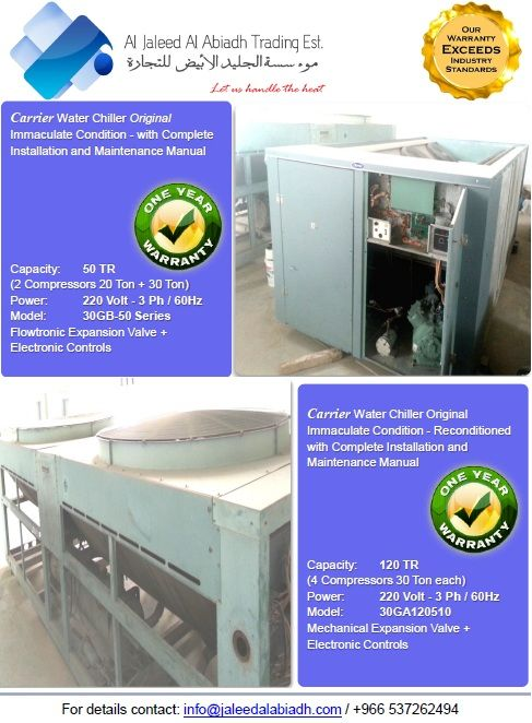 Carrier water chiller 120 tons with electonic controls