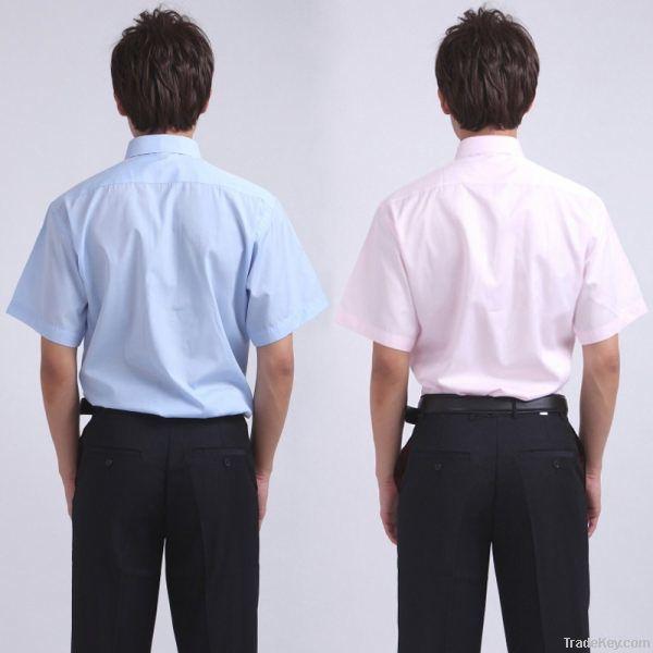 men summer short pure color shirt