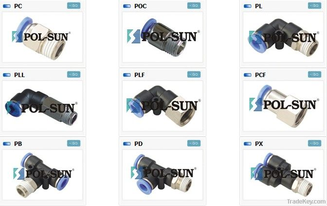 Pneumatic fittings Push in fittings Thread type