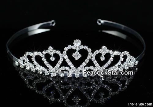 Bridal Wedding Crystal Flower Girl Heart Mini Tiara CT1484