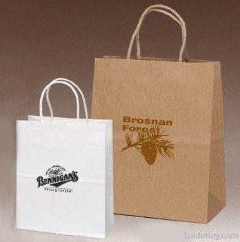 simple paper shopping , promotional bag in kraft , white cardboard