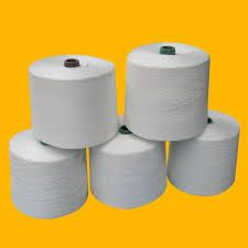 100% polyester sewing thread raw white on paper cone, optical white plastic dye tube