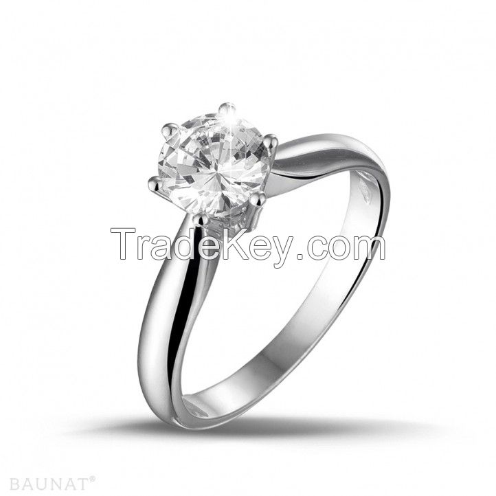 1.00 carat Moissanite diamond ring in 14k white gold solid high quality metal