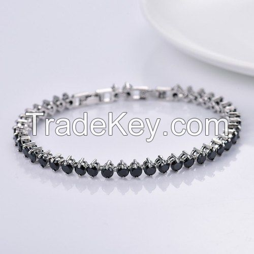 Jewelen Black And Silver Black Diamond Tennis Necklace In White Gold, Platinum, Silver, For Party Wear For Women