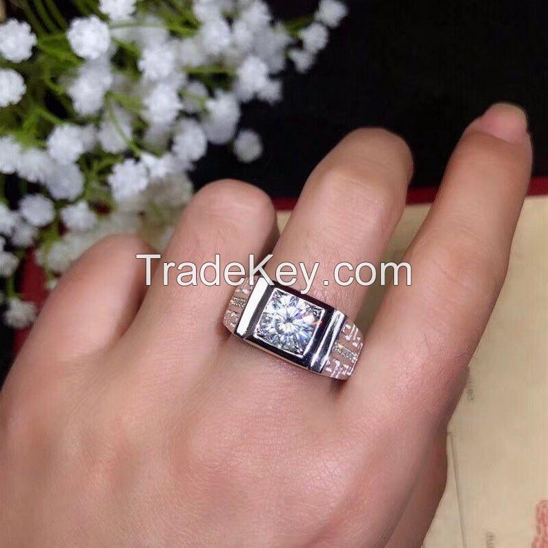 White Moissanite Sterling Silver Couple Ring