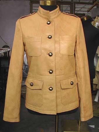 Ladies' lamb naapa drum dyed jacket