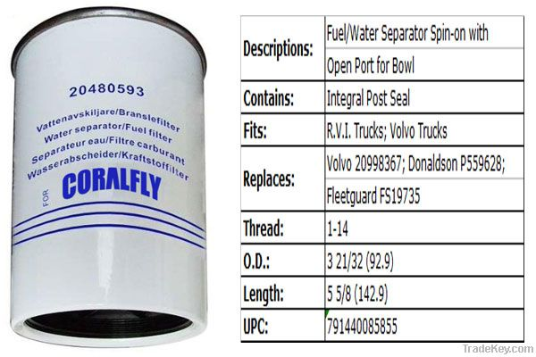 OEM Filter Applicable for Volvo 20480593 Fuel Filter