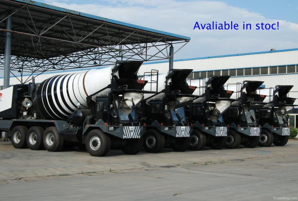 Multi-functional front discharge concrete mixer truck