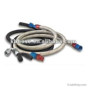 SAE J1532 transmission stailess steel wire braided oil cooler hose