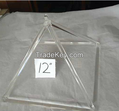 Clear quartz crystal singing pyramids