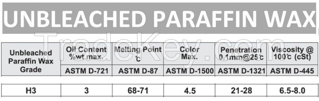 Un-bleached Heavy Paraffin wax (Slack Wax) Grade H3