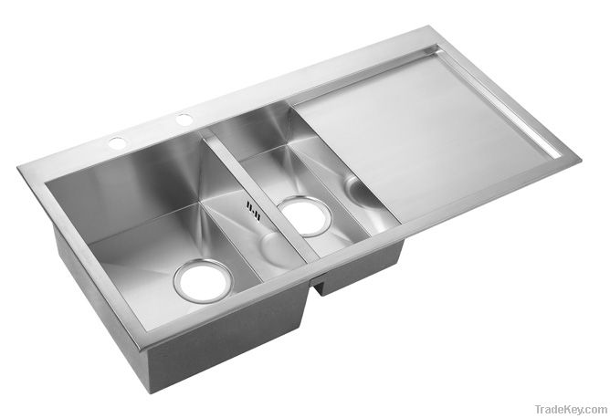 Double Bowl With Drainboard kitchen Sink