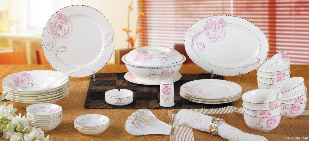 dinner set-gold line rose