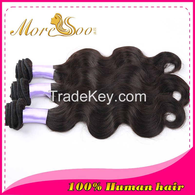 Moresoo high quality unprocessed natural color 6A indian body weave virgin  human hair